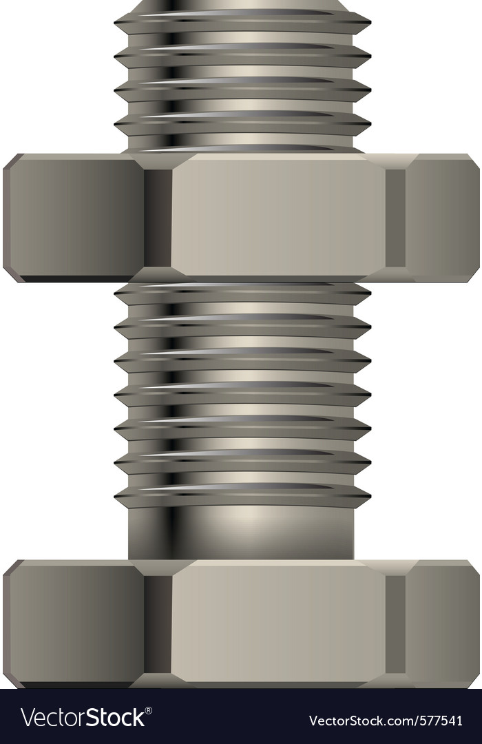 Bolt and nut vector image