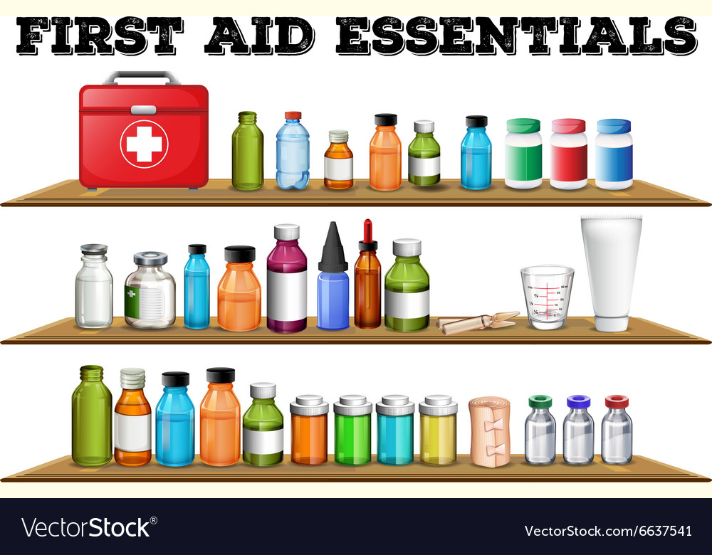 First Aid Essentials On The Shelf Vector Image