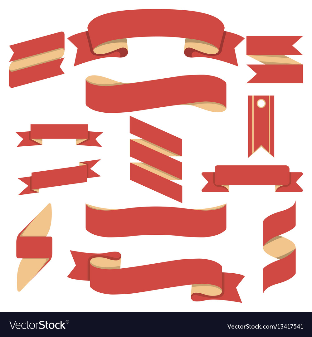 Red curved ribbons isolated set vector image