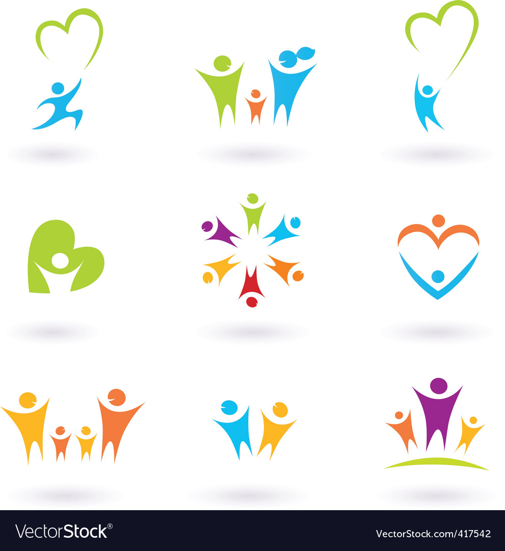 Children and family icons Vector Image
