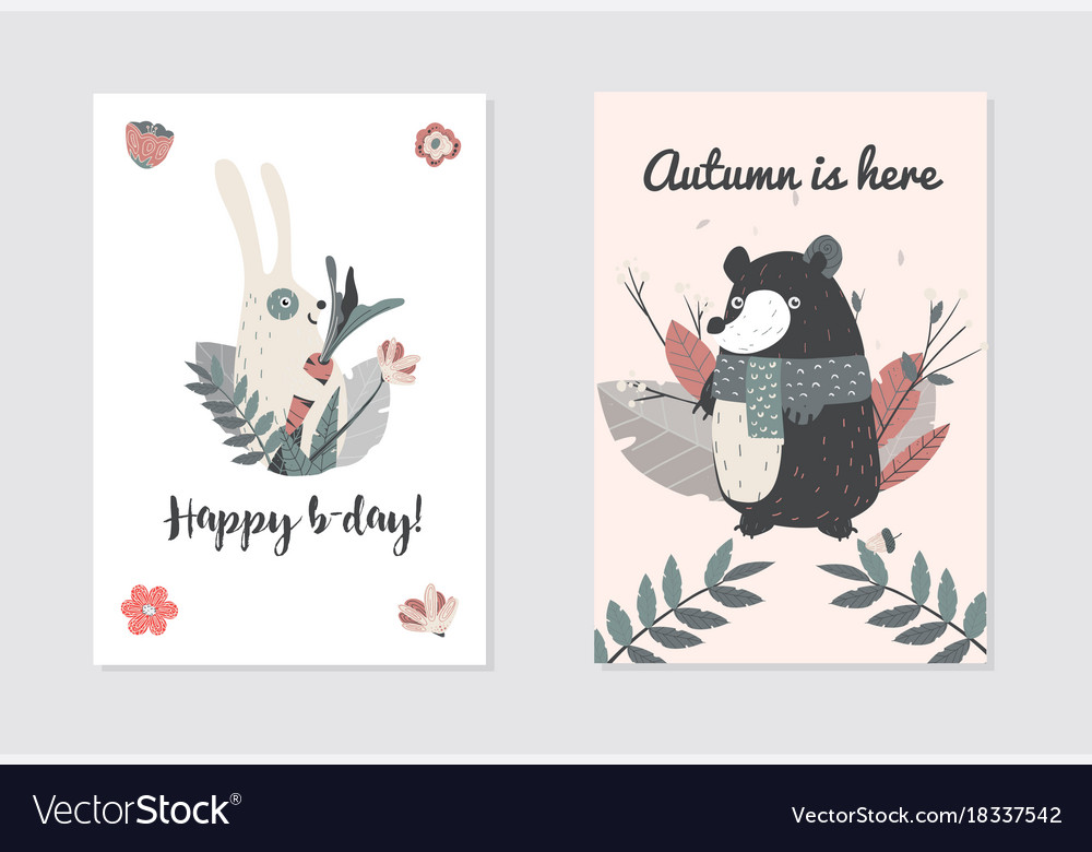 Happy birthday with cute animals bear and rabbit vector image