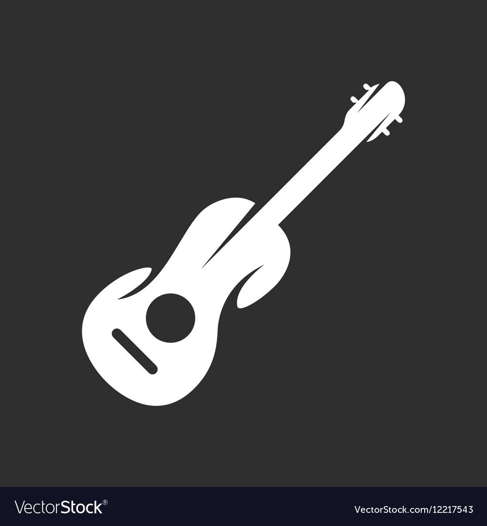 Guitar logo on black background icon vector image