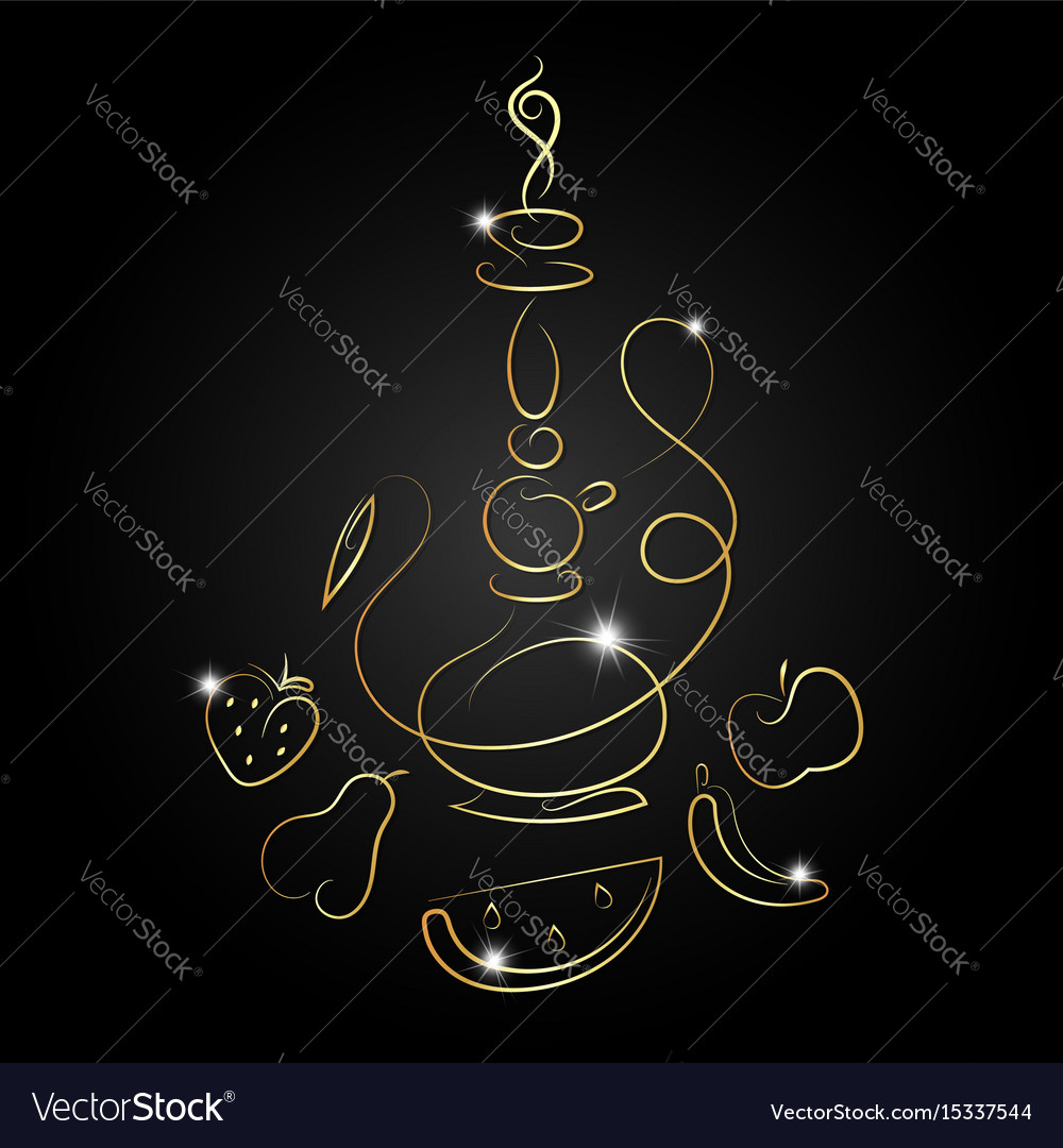 Hookah with fruit golden silhouette vector image