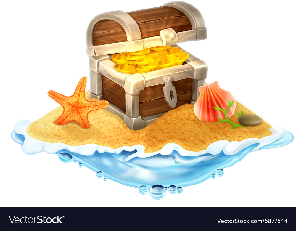Lost treasure chest of gold on the island vector image