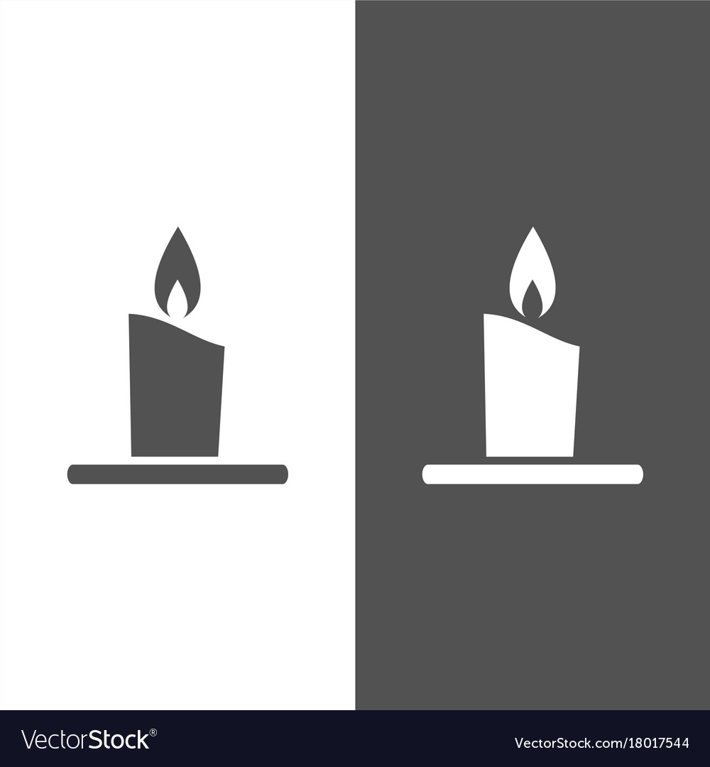 Wax candle icon on white and black background vector image