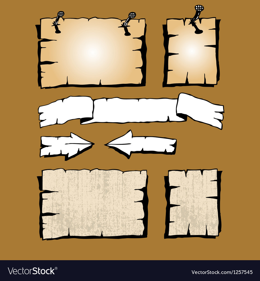 Adverts as old paper pieces vector image