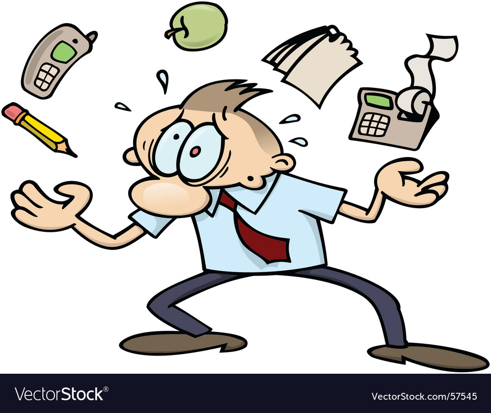 Very busy business-man Royalty Free Vector Image