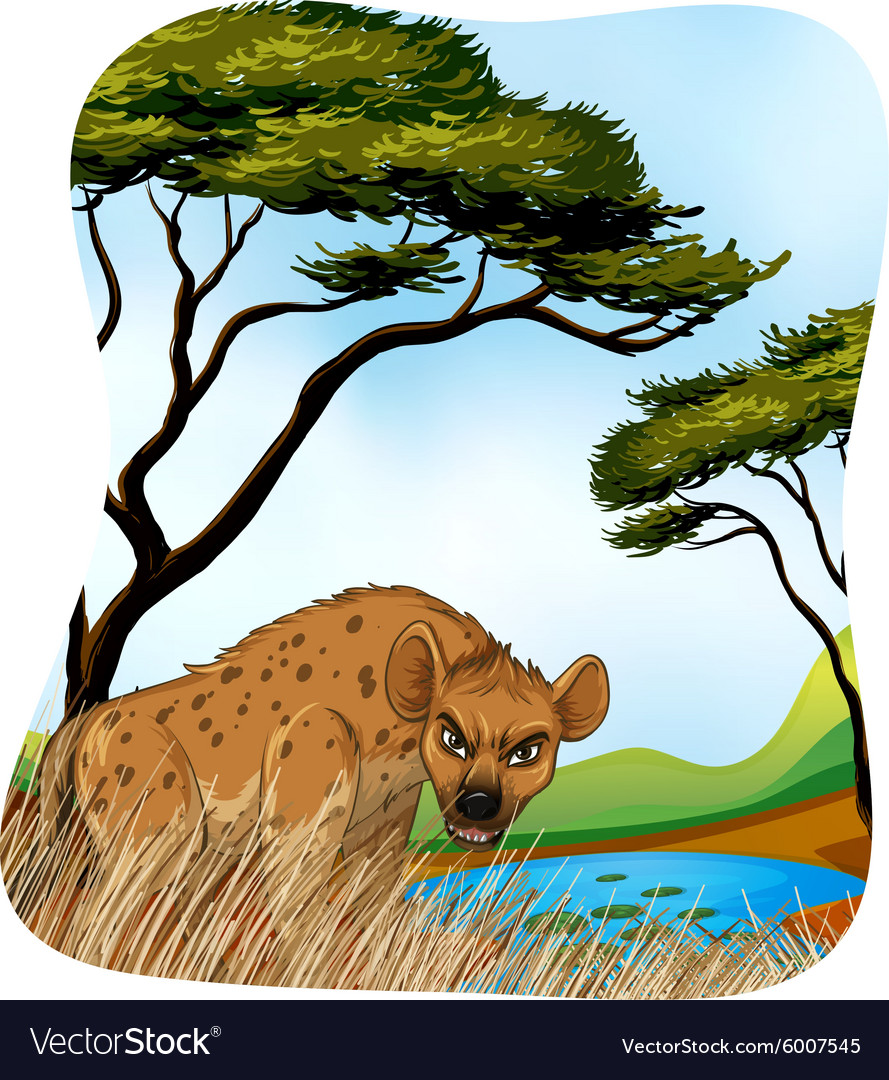 Brown hyena in nature vector image
