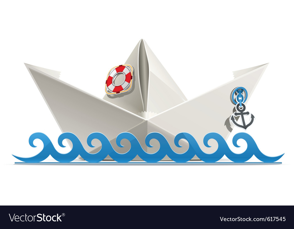 Paper ship origami vector image