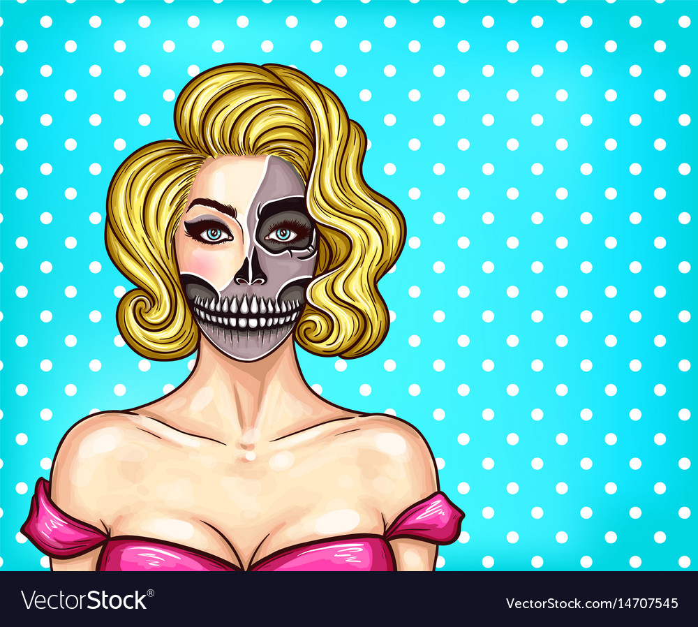 Woman with makeup in pop art style vector image