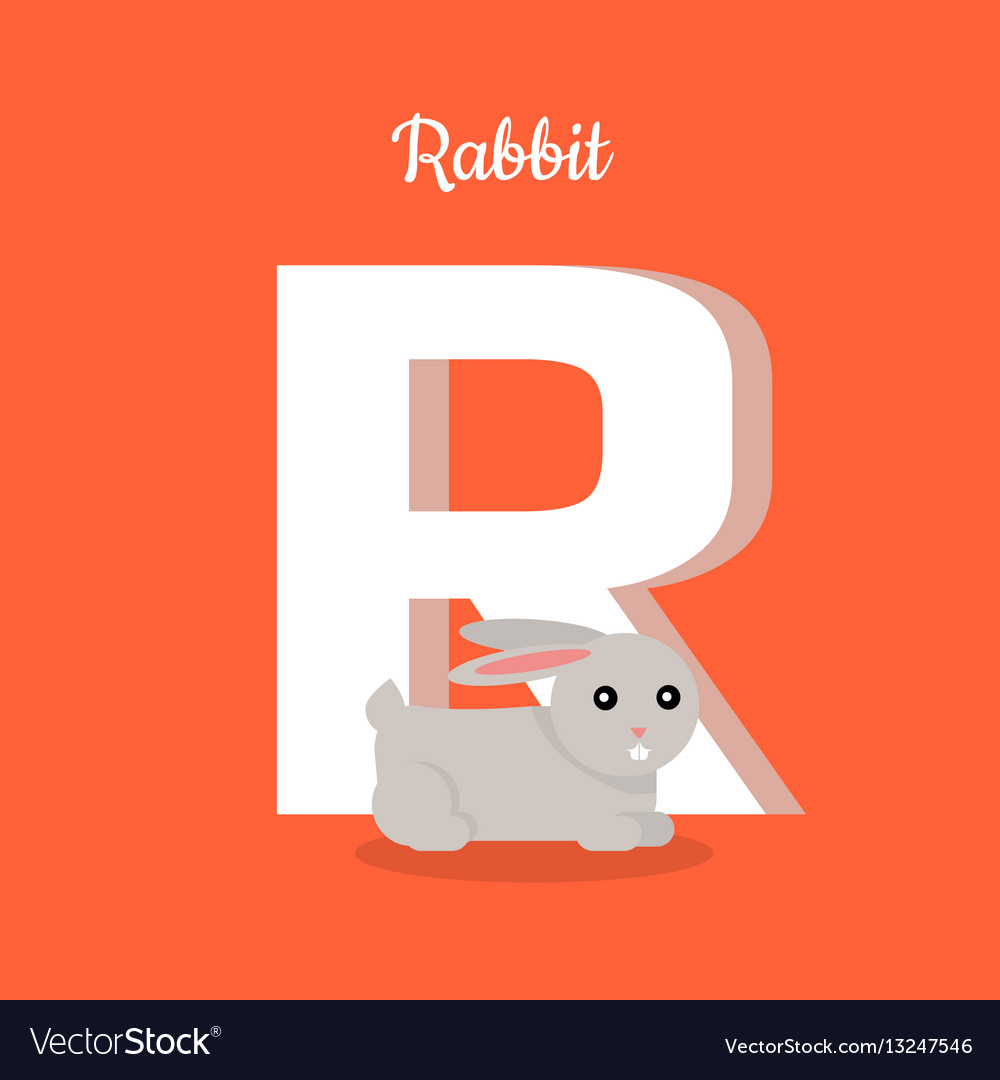 Animals alphabet letter - r vector image