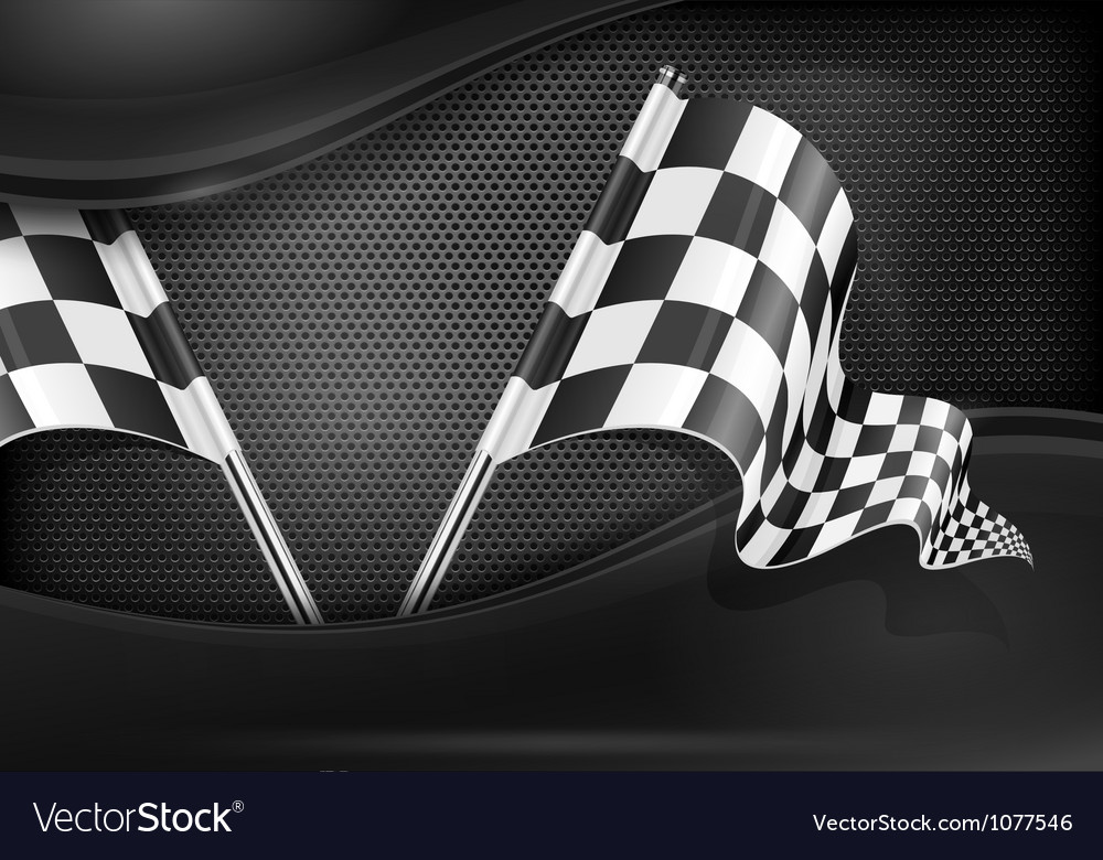 Chequered flag racing background vector image