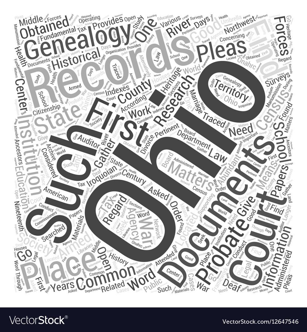 Ohio genealogy Word Cloud Concept vector image