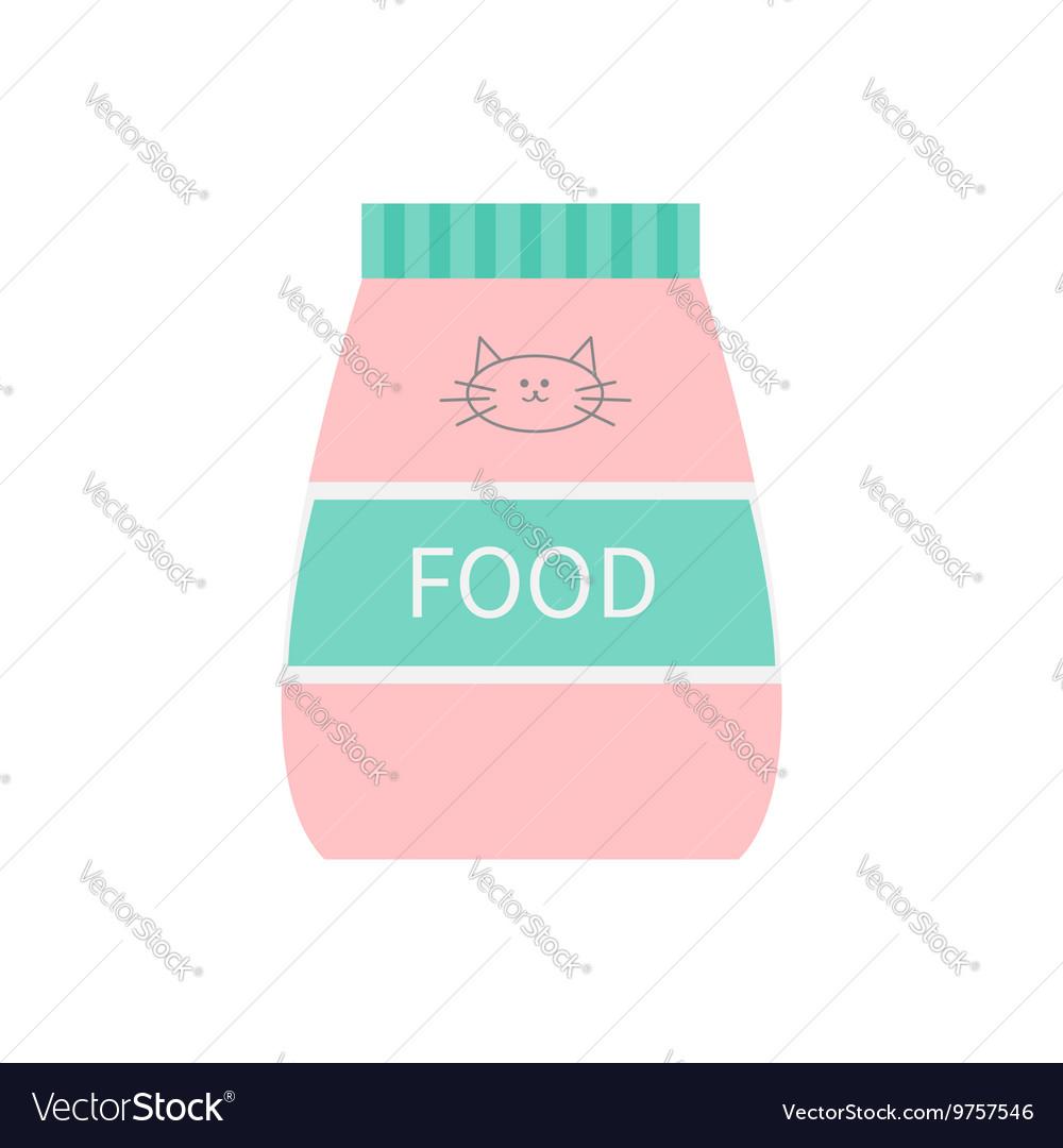Pet cat dry food Feed in plastic bag Kitty face vector image