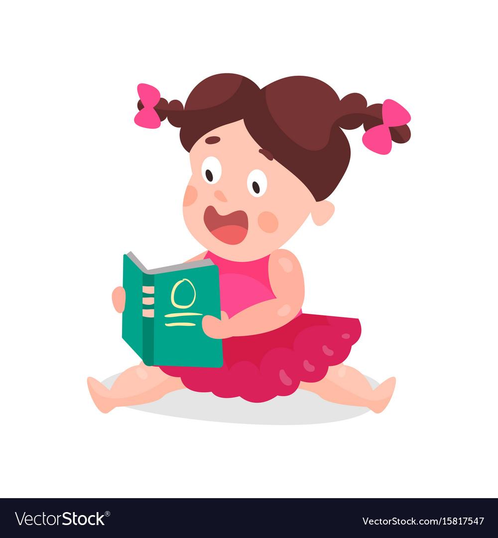Cute cartoon little boy in a pink dress sitting on vector image