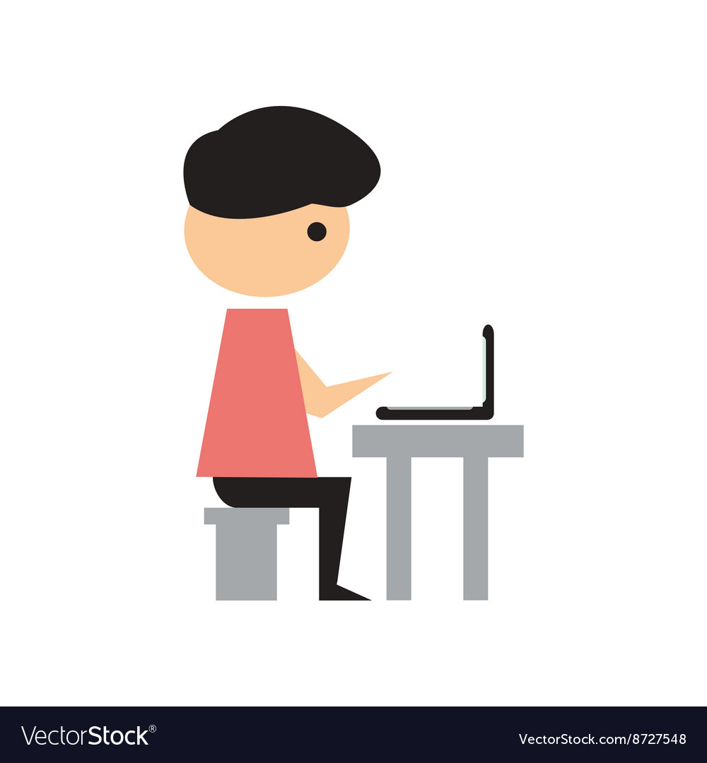 Flat web icon on white background Man programmer vector image