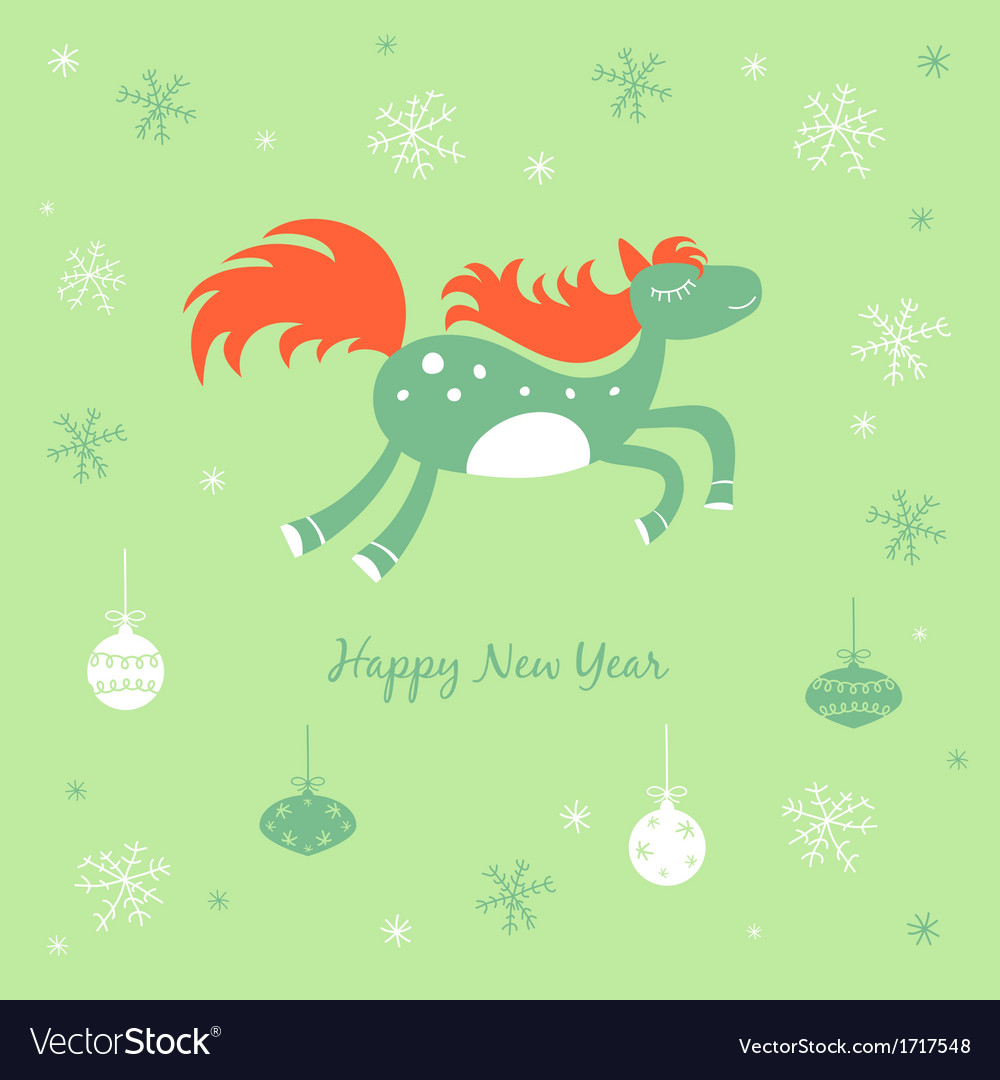 New Year and Christmas card with a horse vector image