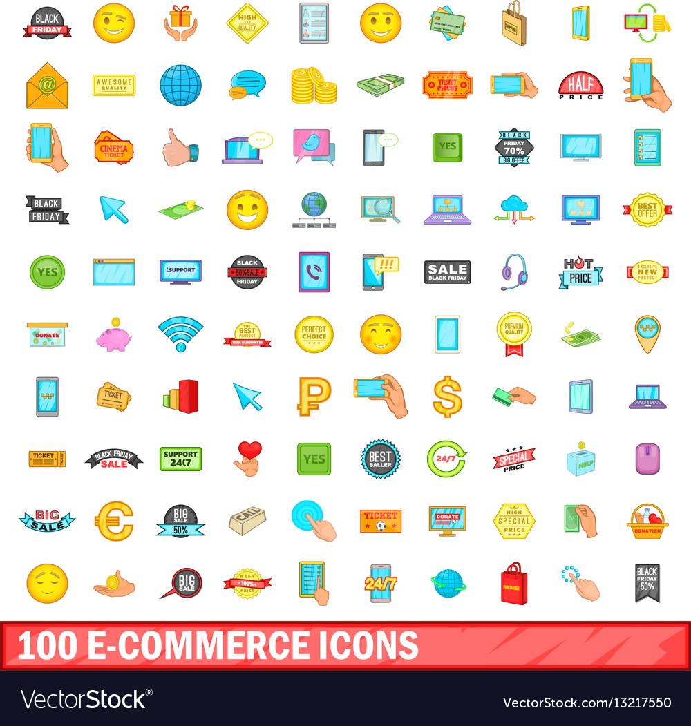 100 e-commerce icons set cartoon style vector image