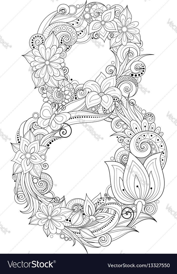 8 march floral template vector image