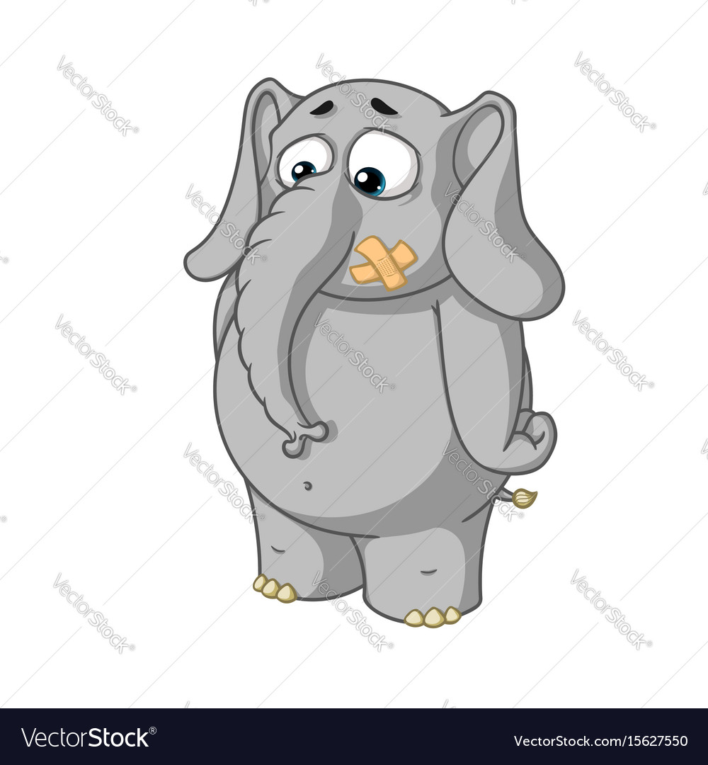 Cartoon stands with mouth sealed vector image