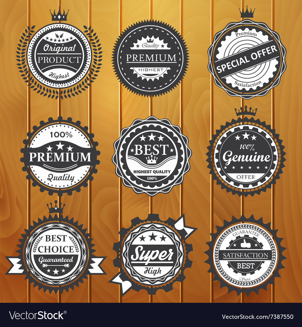 Premium quality guarantee genuine badges vector image