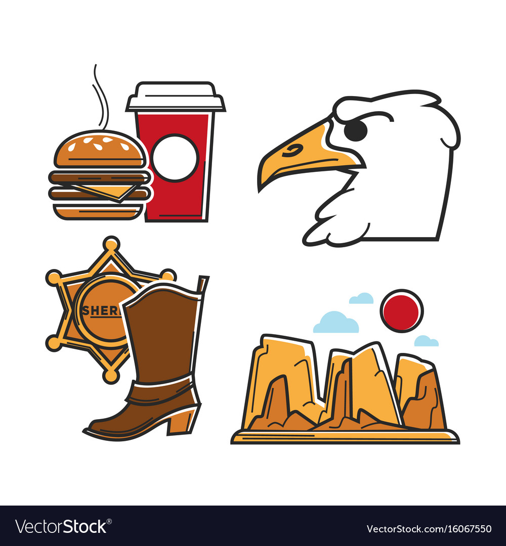 Usa america tourism travel and american culture vector image