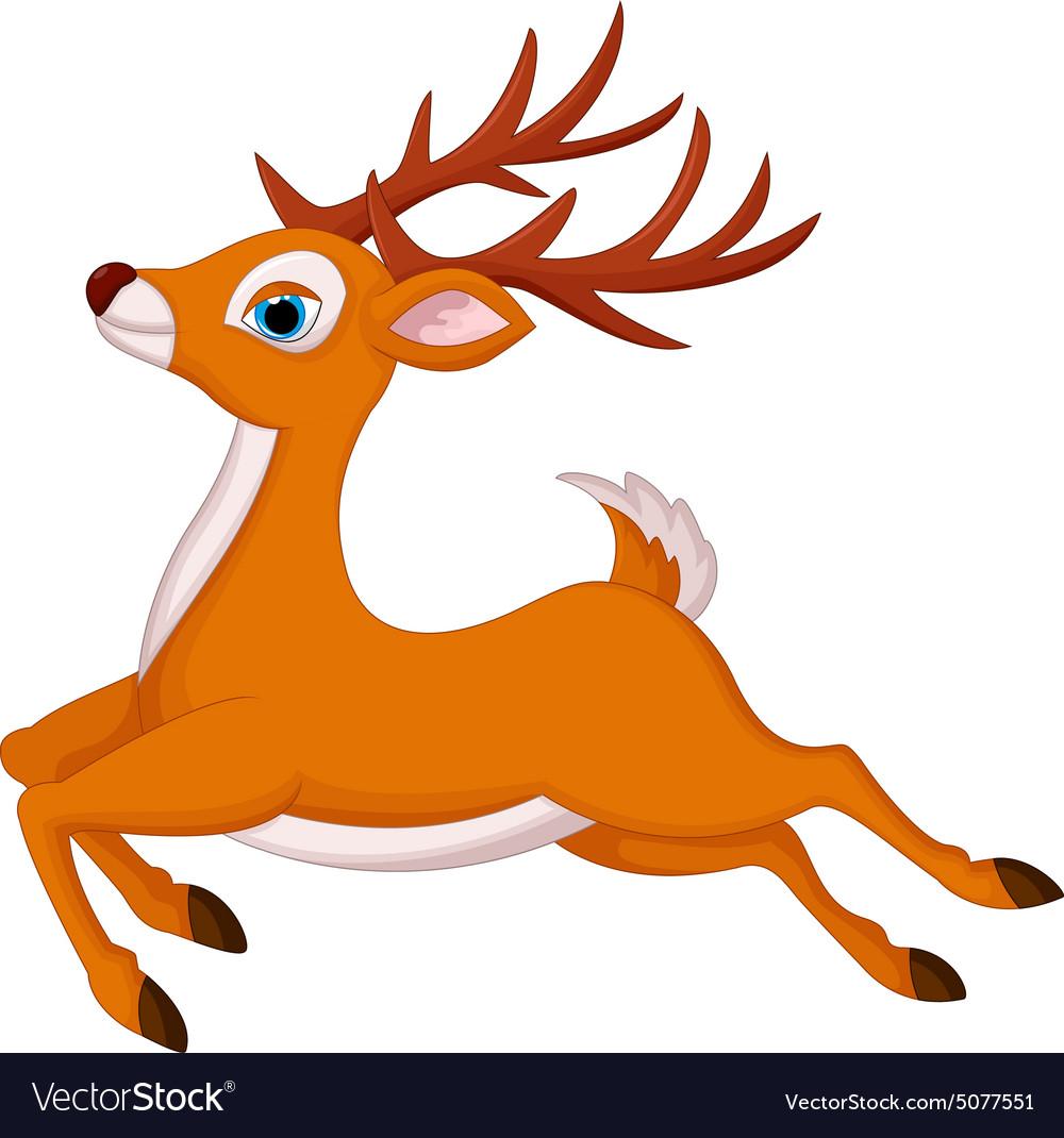 Cartoon deer running vector image
