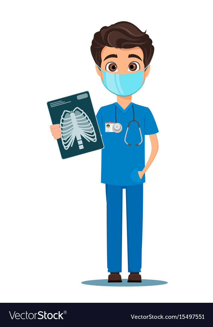 Medical doctor in mask and uniform holding x-ray vector image