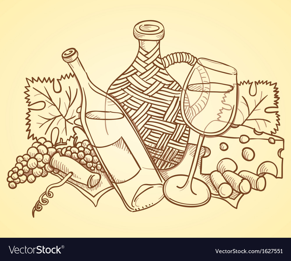 Wine Themed Drawing vector image