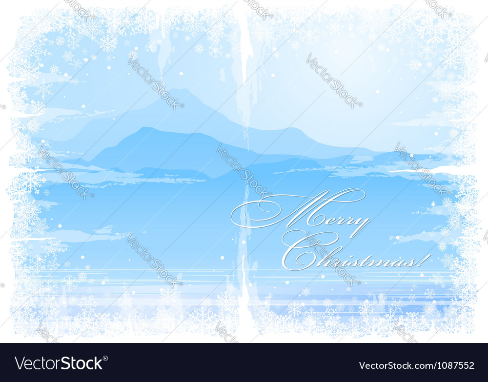 Christmas background with mountain view vector image