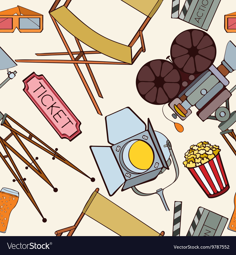 Seamless cinema pattern vector image