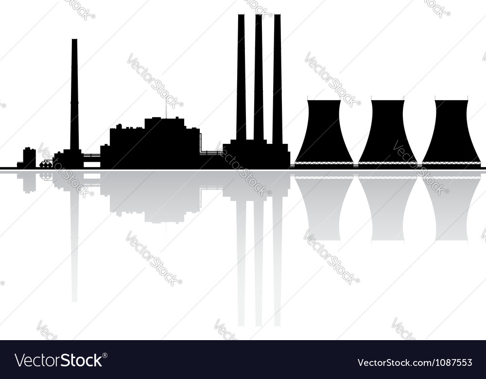 Power Plant Silhouette Vector Image