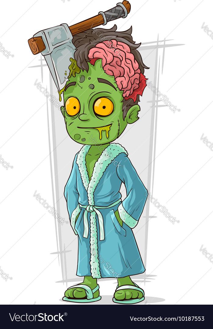 Cartoon funny green zombie in bathrobe vector image