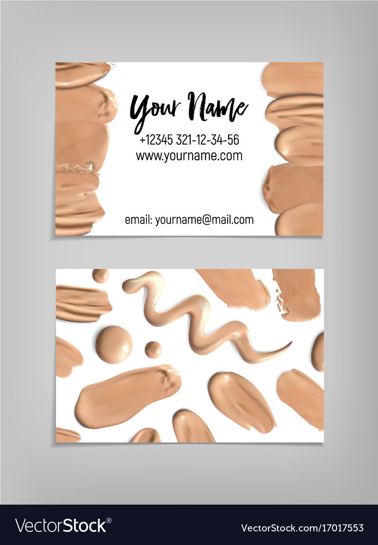 Makeup artist business card template Royalty Free Vector