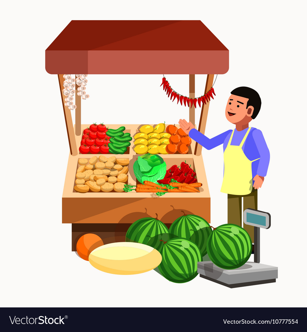 Vegetables and fruits product seller at the vector image