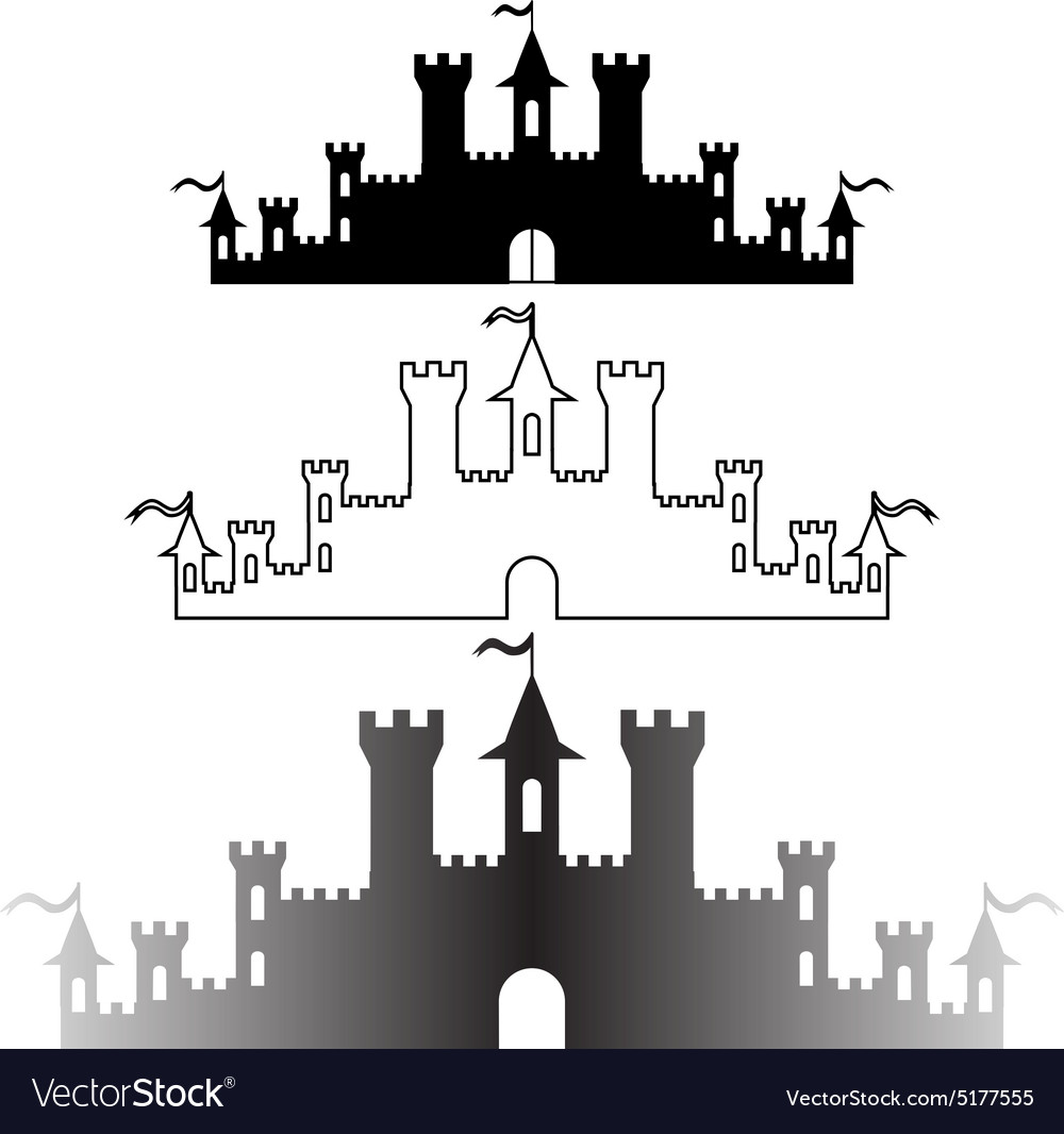 Set of Fantasy castles silhouettes for design