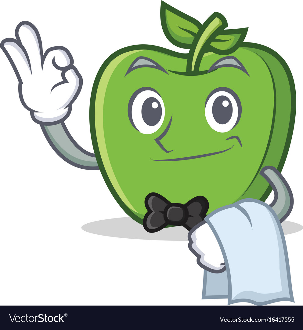 waiter green apple character cartoon royalty free vector