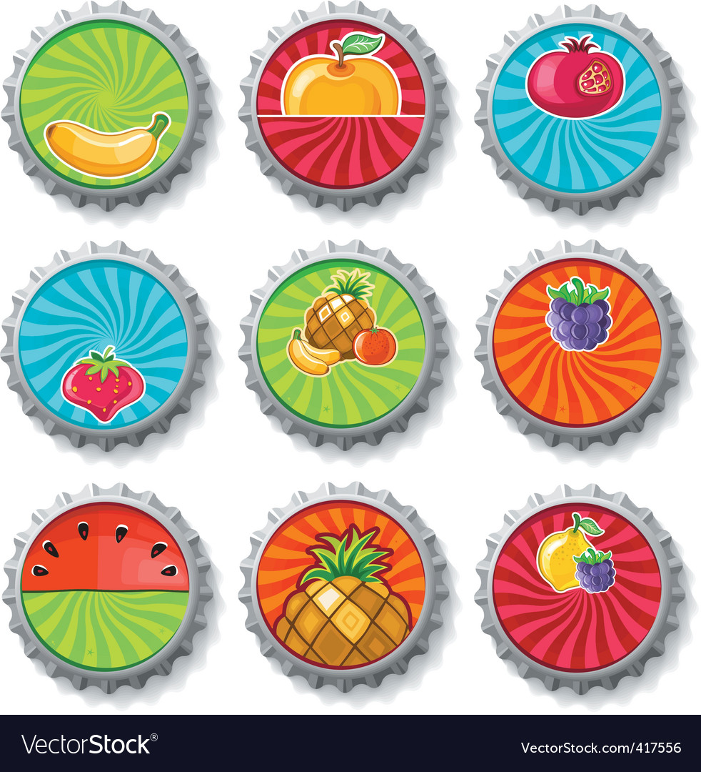 Fruity bottle caps  set vector image