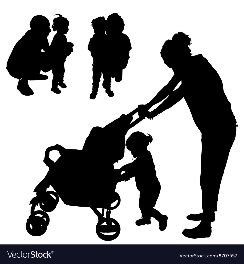 children with mom and dad silhouette vector image