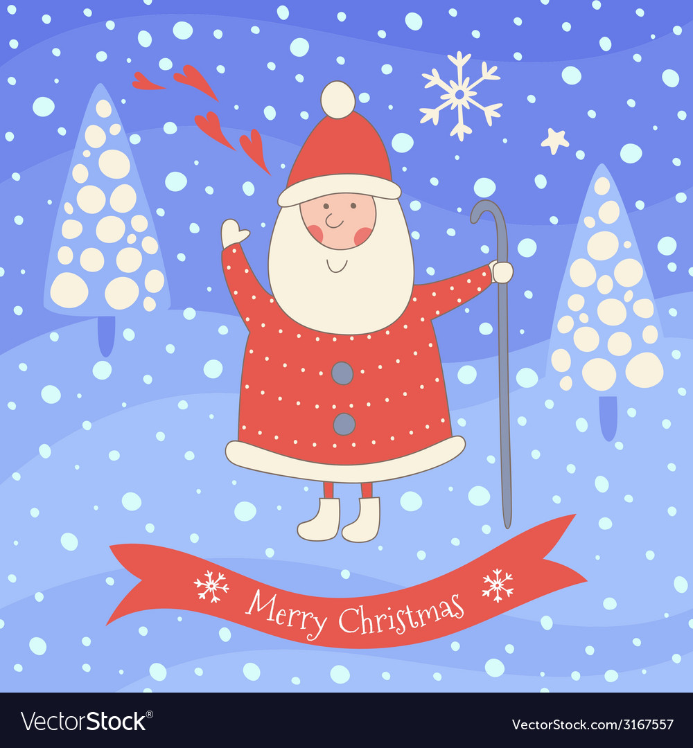 Santa Claus Greeting Card Royalty Free Vector Image