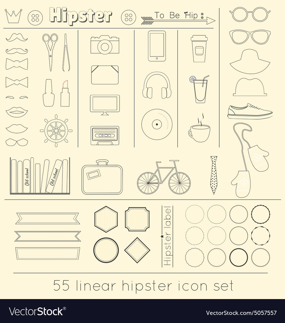 Signs and symbols templates for your design linear vector image