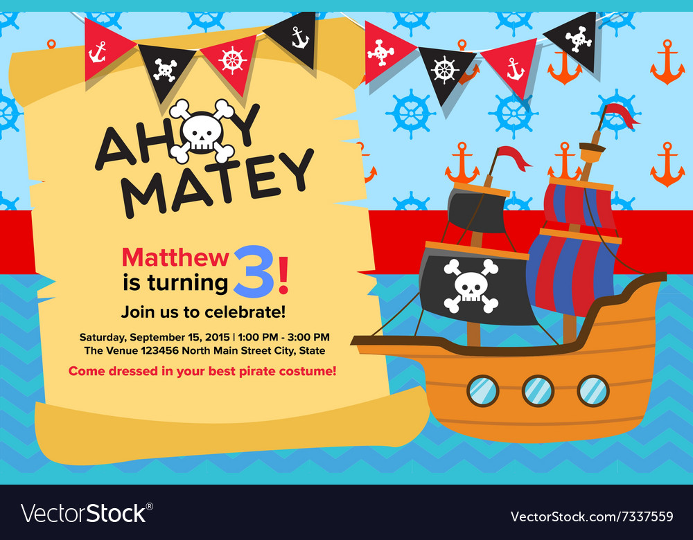 Ahoy matey pirate birthday invitation card vector image ahoy matey pirate birthday invitation card vector image stopboris