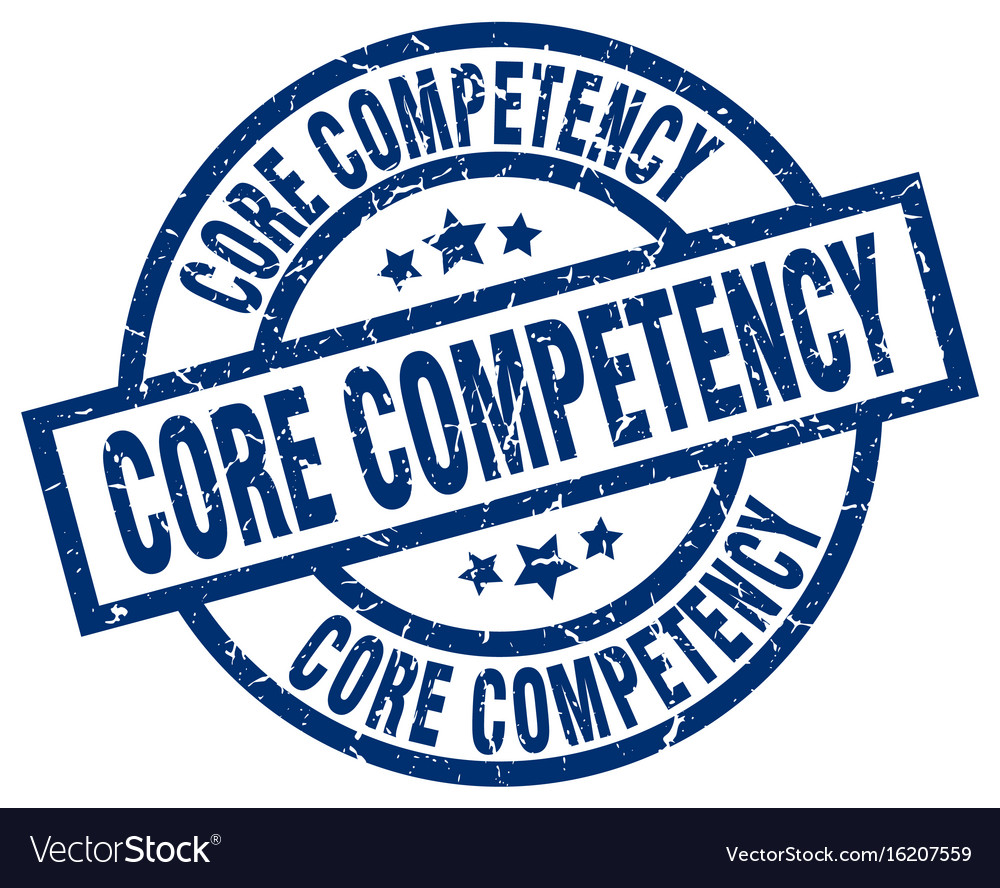Core competency blue round grunge stamp vector image