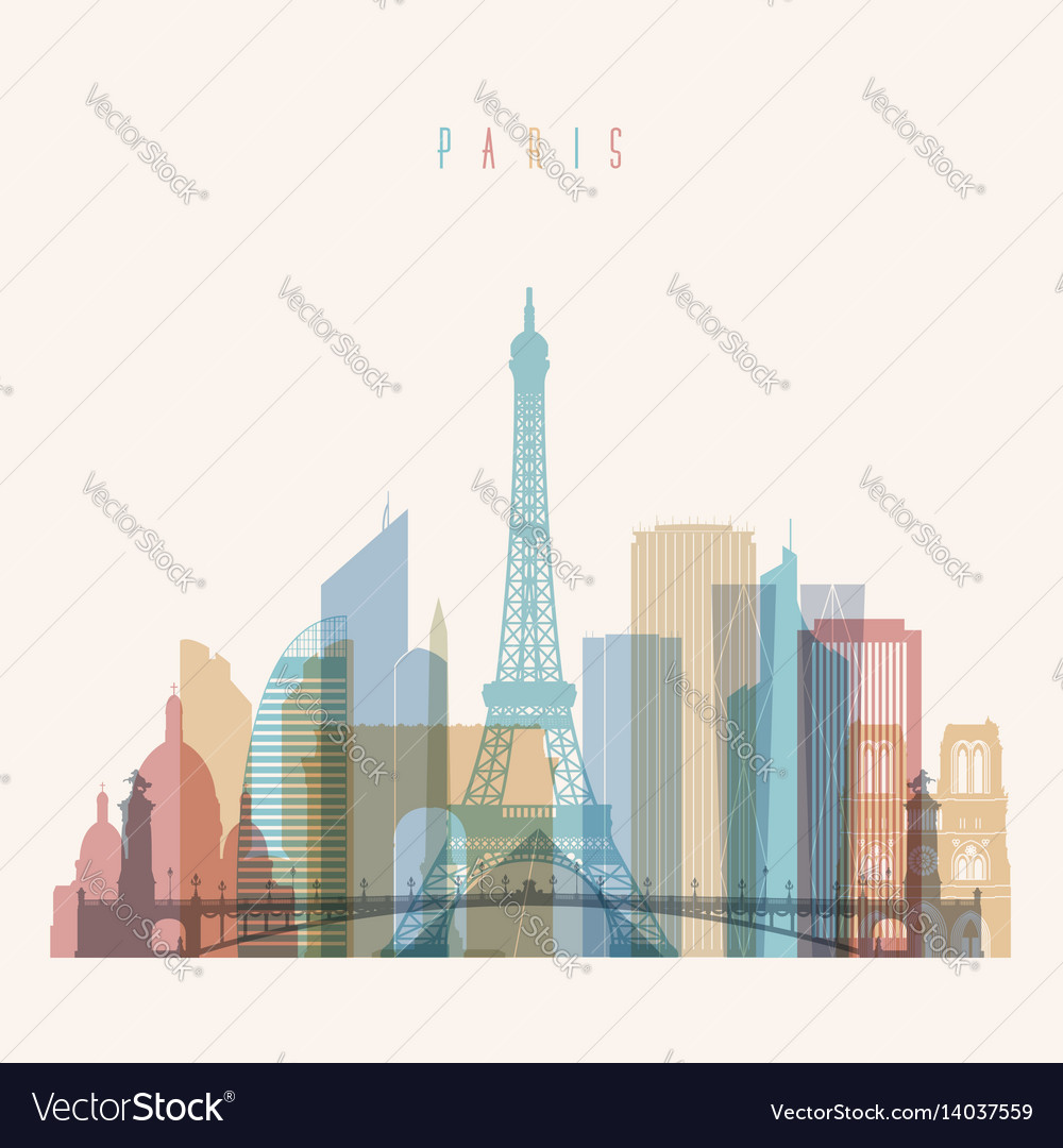 Paris skyline detailed silhouette vector image