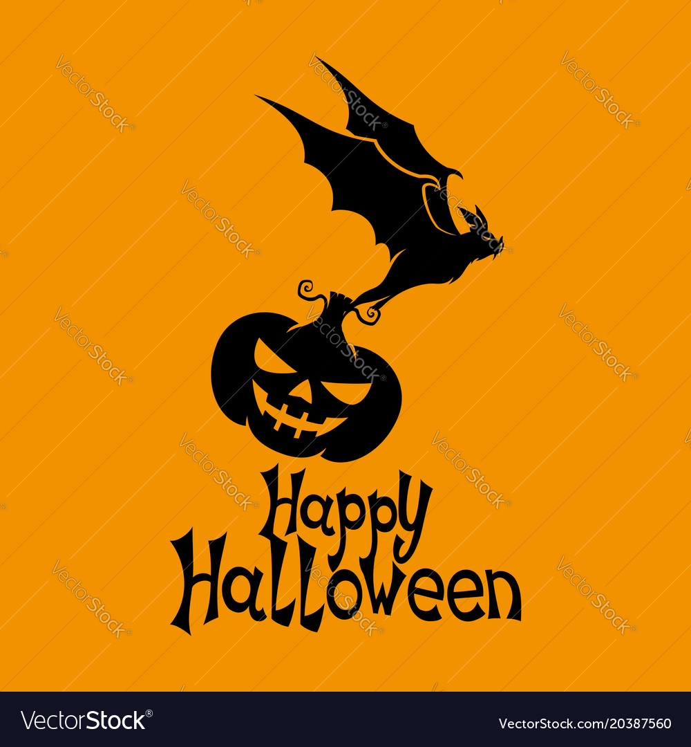 Black bat with pumpkin vector image