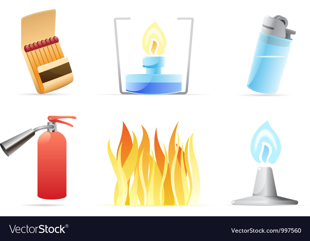 Icons for fire vector image