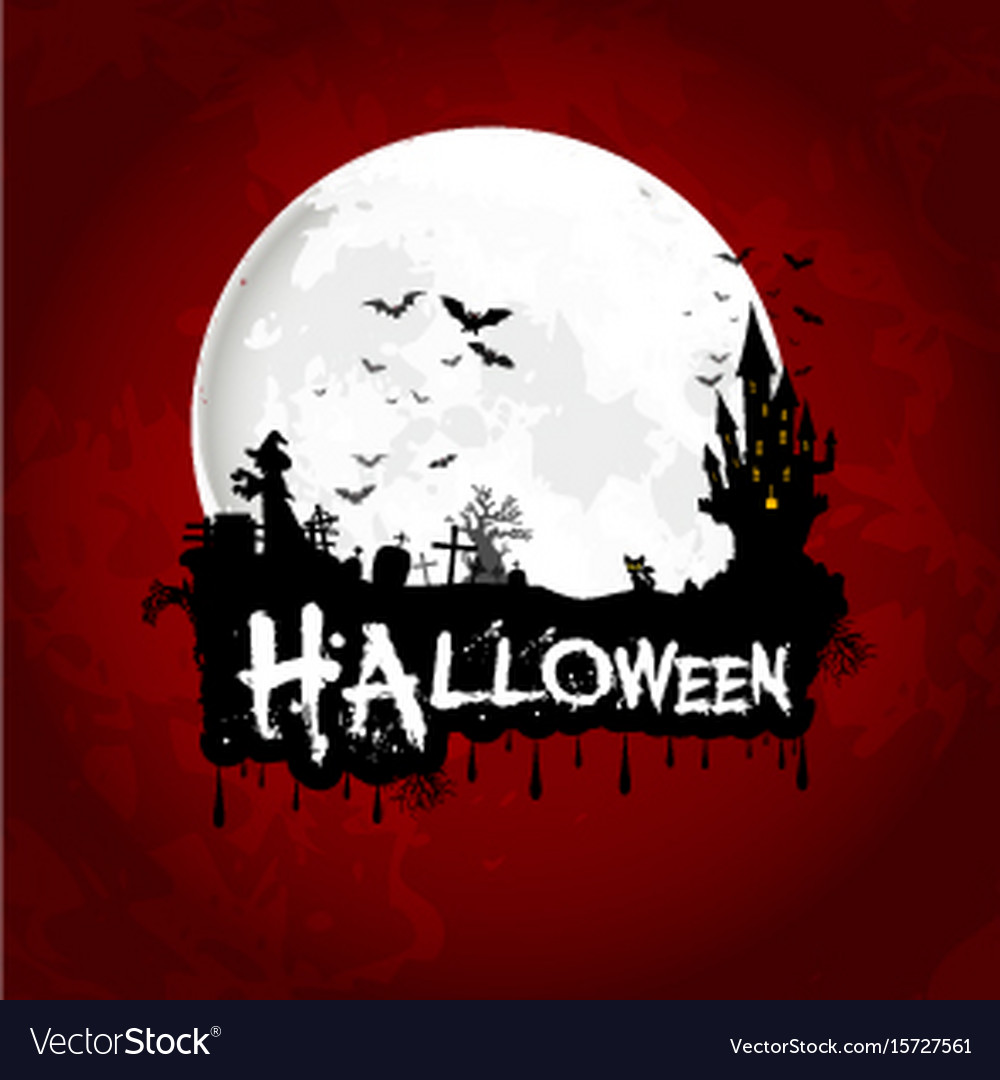 Halloween poster on full moon with scary house vector image