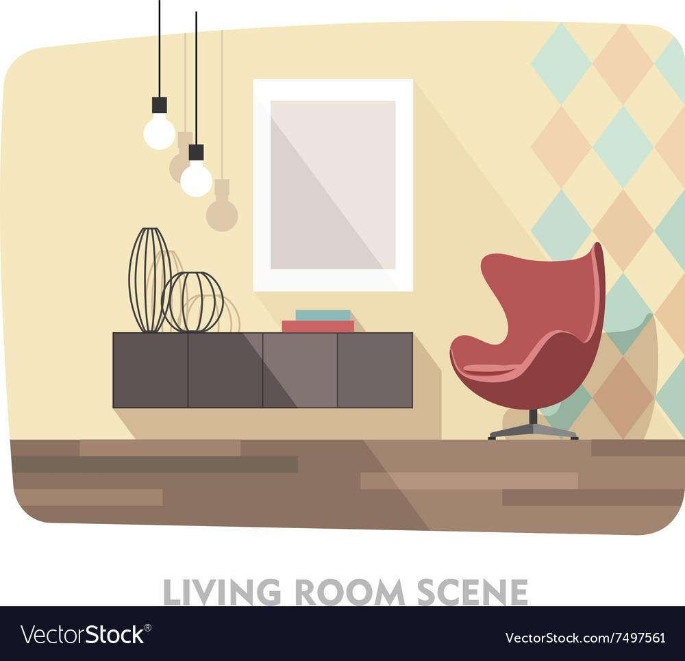 Interior Living Room Modern Furniture Royalty Free Vector