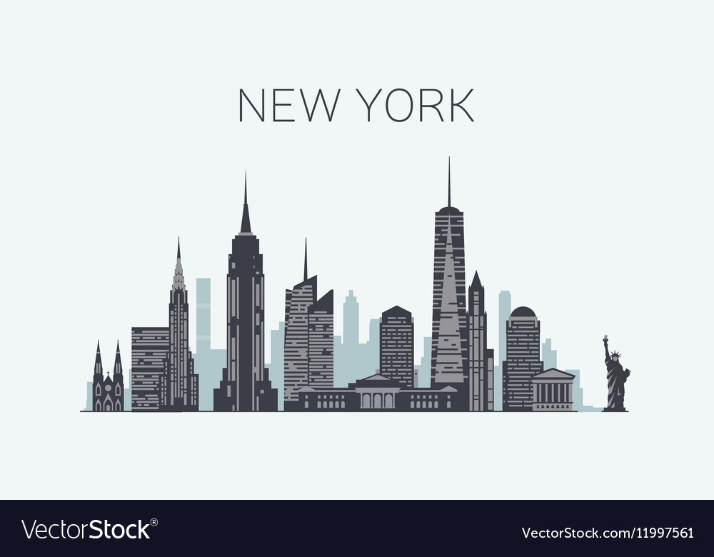 New York skyline silhouette vector image