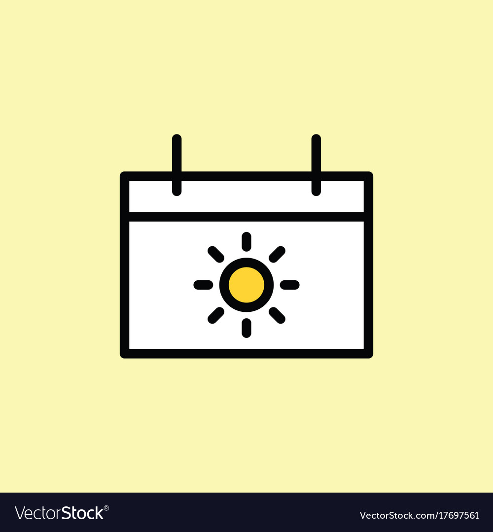 Vacation calendar icon thin line vector image